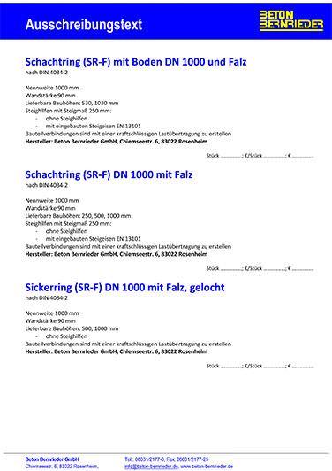 AUSSCHREIBUNGSTEXT / PRODUKTDATENBLATT